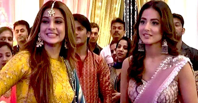 BTS picture of Hina Khan and Jennifer Winget from the sets of Bepannaah