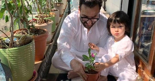 Janta Curfew: Bebo Shares Pics Of Saif & Taimur Enjoying Gardening; Captions My Boys Doing Their Bit