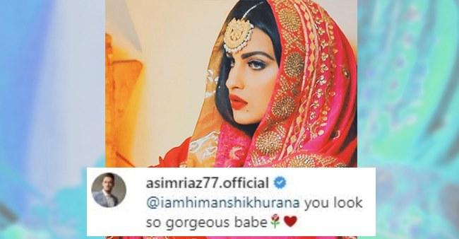 BB13: Asim Praises Himanshi As She Shares Image In Desi Look; Writes 'U Look So Gorgeous Babe'