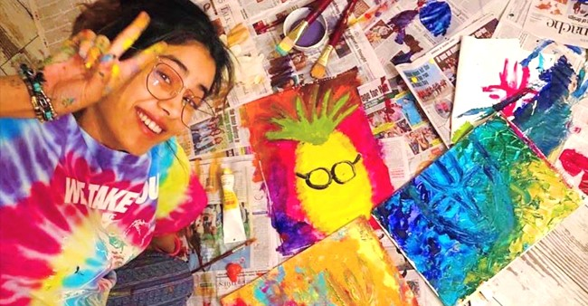 Janhvi Kapoor Utilizes Free Time To Satisfy Her Creative Urge; Shares End Result Of Her Paintings