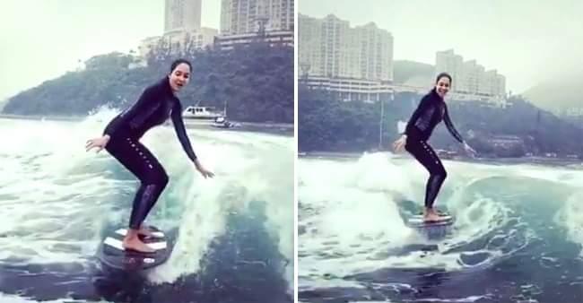 Lisa Haydon does water surfing in Hong Kong post-8-week self-quarantine, shares it on Instagram
