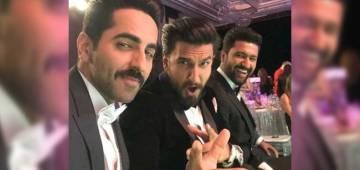 Star-studded selfie of Ranveer Singh, Ayushmann Khurrana and Vicky Kaushal