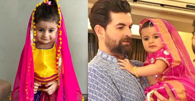 Neil Nitin Mukesh's Daughter, Nurvi Looks Adorable As She Wears Her First  Saree For Ganpati Puja; Enjoy Video | Laughing Colours