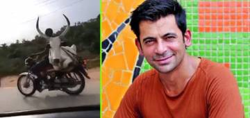Sunil Grover shares a video of man carrying a bull on his bike with a 'confused' caption: Watch