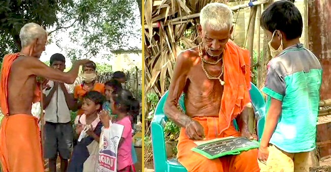 Odisha's Nanda Prasty Teaching Children Under A Tree Free Of Cost For Over  75 Years   Laughing Colours