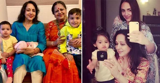 Enjoy The Most Adorable Pics Of Bollywood's Dream Girl Hema Malini With Her Grandkids
