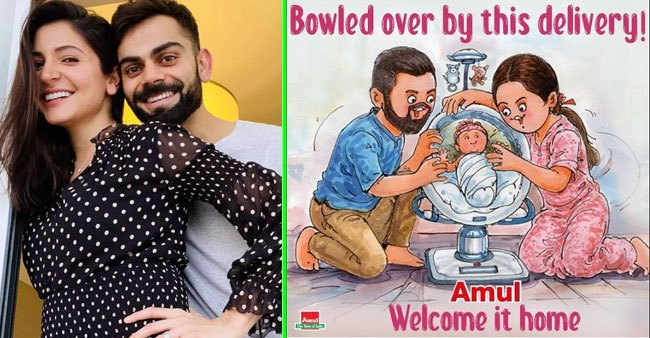 Amul uniquely Greets Anushka Sharma And Virat Kohli for their little princess