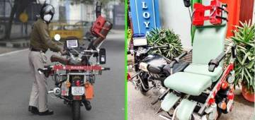 """""""RAKSHITA"""" a specially designed bike ambulance launched by CRPF and DRDO on Monday"""