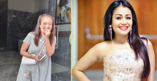 Neha Kakkar blushes on being asked about hubby Rohanpreet by paps outside her home