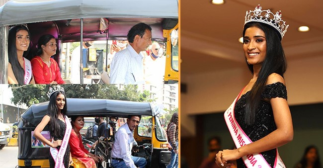 VLCC Miss India 2020 Runner-Up Manya Singh Arrives In Her Father's Auto Rickshaw For The Felicitation Ceremony