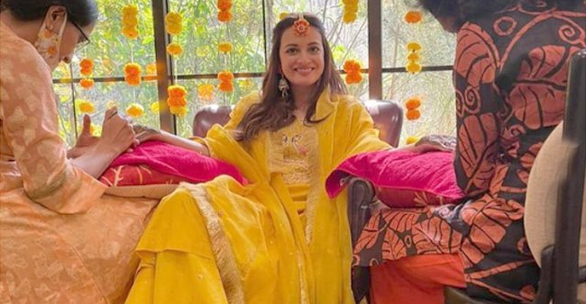 Netizens Go Gaga As Pictures From Newlywed Dia Mirza's Mehendi Ceremony Go Viral On Social Media
