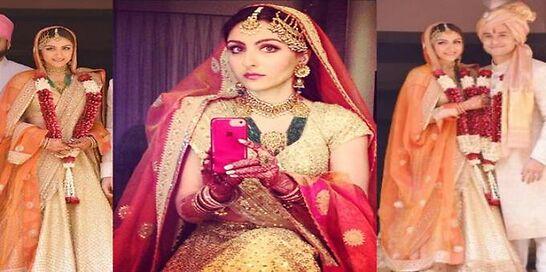 Biggies & Real Brides Got Rid Of Red & Chose Golden For Their Bridal 'Lehenga'