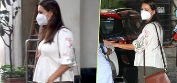 Pregnant Dia Mirza Sports Casual Look As She Gets Papped In The City Post Salon Session