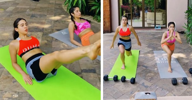 Sara Shares An Exercise Video With Janhvi; Says 'Go With Flow To Get Golden Glow'