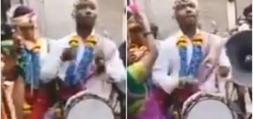 "Groom beats drum at his own wedding, Netizens calls him ""Atmanirbhar Dulha"""