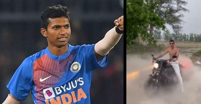 Shirtless Navdeep Saini rides his new Harvey Davidson motorbike in a viral video, Watch now