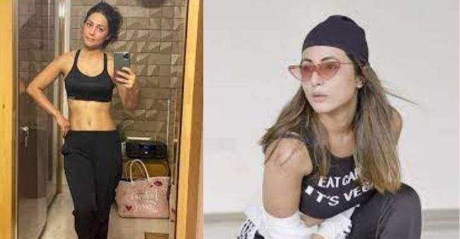 Hina Khan flaunts her well toned abs in a tight-fitted crop top, with a message on her top