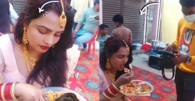 Hands or spoon for eating? Take a look at this viral video of a woman in the same fix