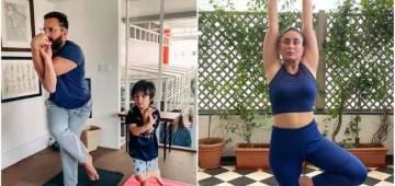Kareena Kapoor shares pics of her husband Saif and son Taimur doing yoga, internet loves them