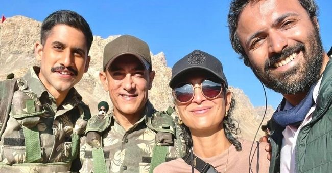 Laal Singh Chaddha: Aamir Khan – Kiran Rao pose together from the sets of the movie with Chaitanya