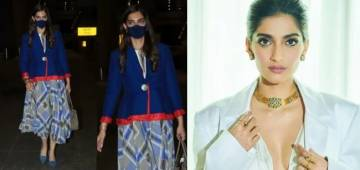 Sonam Kapoor brutally trolled for her airport outfit; Her blue outfit color matches with cabin crew's uniform